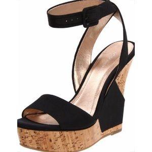 BCBGeneration Black Rink Wedge Sandals Size 7.5